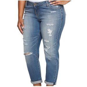 Torrid Distressed Cropped Boyfriend Blue Jeans 26